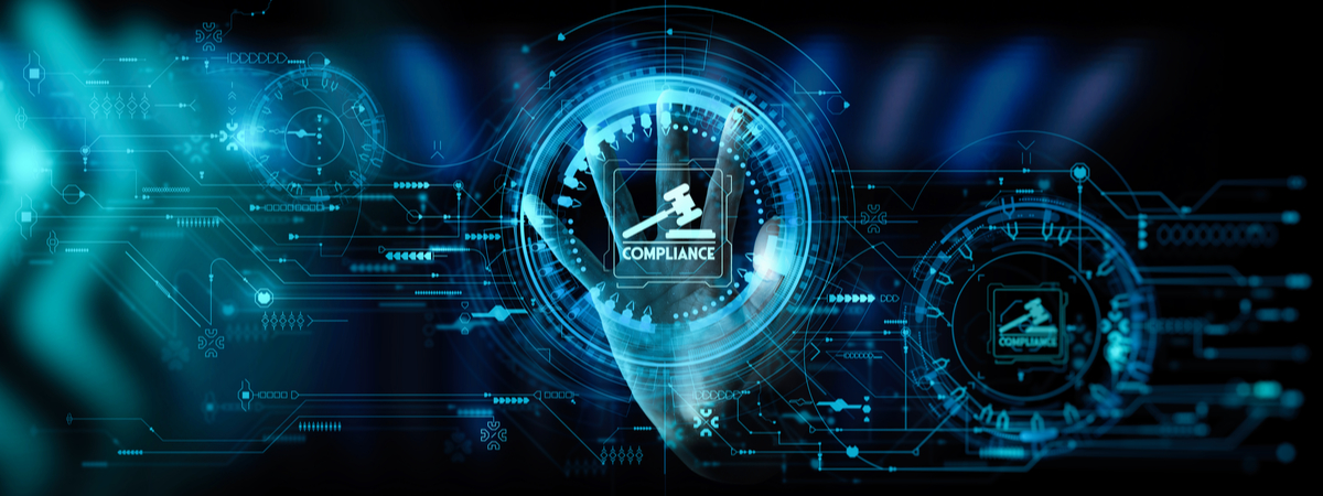 Hand touching Compliance Rules Law Regulation Policy Business Technology Interface